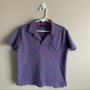 Lands End Blue and Red Striped Polo
